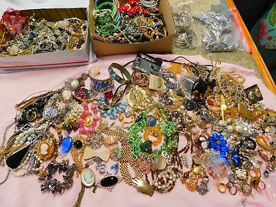 Huge 16 Pound Lot Of Vintage Costume Jewelry