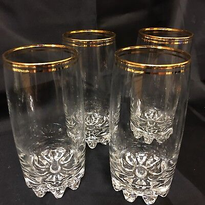 Vintage Gold Rimmed Heavy Bottom Tumbler  Glasses  Set Of 4