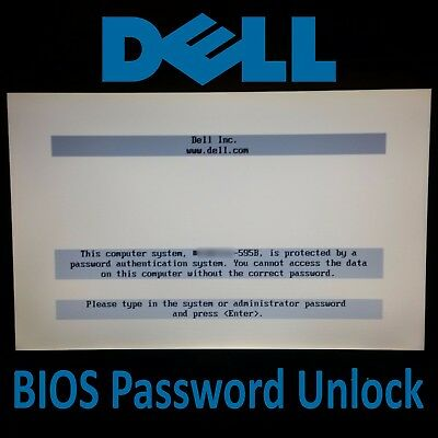 Dell Laptop PC BIOS Password Unlock/Removal A95B 1D3B 1F66 2A7B 595B 6FF1 D35B