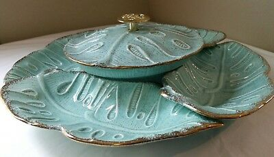 Lazy Susan Serving Set Vintage Turquoise Gold Trim Detail California Pottery USA