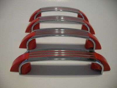 Four Vintage Chrome Drawer Pulls RED Lines Plastic Ends Cabinet Handles Amerock