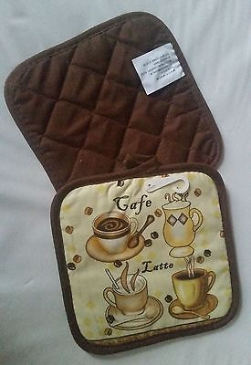 """Set of 2 Printed POT HOLDERS, 7"""" x 7"""" , COFFEE, CAFE LATTE, brown back"""
