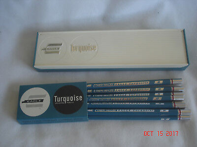 LOT 9 NEW in PLASTIC BOX & SLEEVE Vtg. CHEMI-SEALED EAGLE TURQUOISE H PENCILS