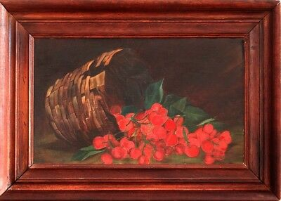 Exquisite 19th Century Antique Victorian Basket & Cherries Oil Painting w/Frame