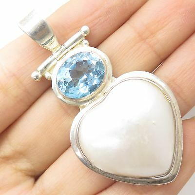 925 Sterling Silver Real Large Mother-Of-Pearl Blue Topaz Gem Heart Love Pendant