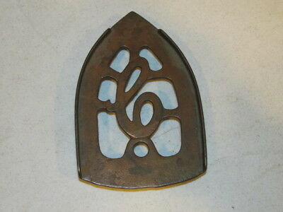 Vintage Cast Iron Flat iron Trivet With Large C in Center VFC Copper Colored VFC