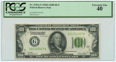 1928A $100 FRN Federal Reserve Note Chicago, IL PCGS XF 40 Fr #2151a-G