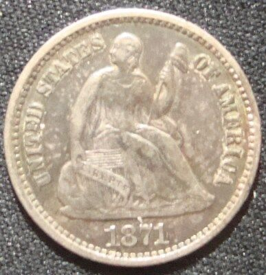 1871 Liberty Seated Half Dime - Problem Free XF