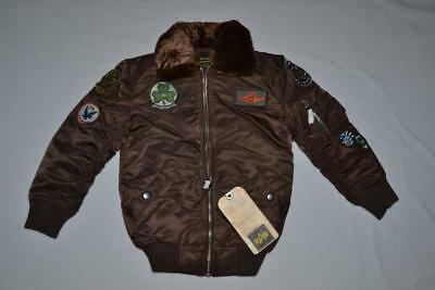 Authentic Alpha Boys Maverick Jacket Patches Cocoa Brown Youth Ym 10/12 Medium