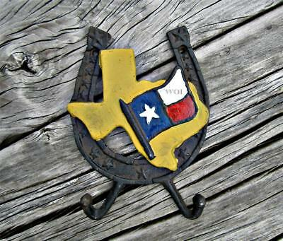 Large Cast Iron Horse Shoe Texas State Flag Plaque Coat Hat Umbrella Wall Hanger