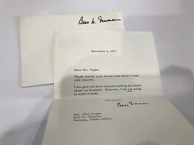 Bess Truman 1st Lady & Harry Truman Wife Signed Letter 1977