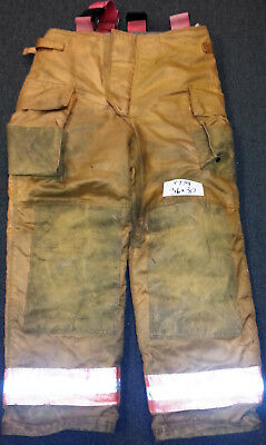 36x30 Pants Firefighter Turnout Bunker Fire Gear Securitex S305 +Suspenders P774