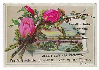 Barrell's Indian Vegetable Worm Confection late 1800's medicine trade card #A