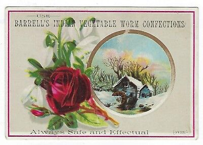 Barrell's Indian Vegetable Worm Confection late 1800's medicine trade card #B