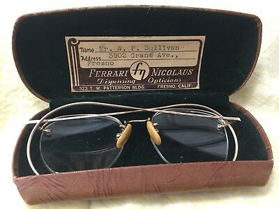 Antique VTG Shuron 1/10 12k Gold Filled Oval Wire Rimmed Eye Glasses w Case #2