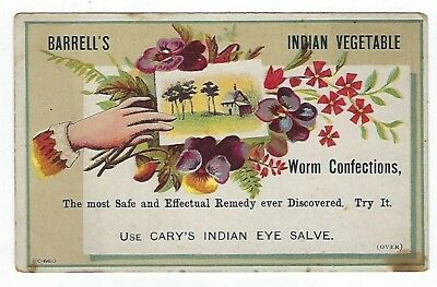 Barrell's Indian Vegetable Worm Confection late 1800's medicine trade card #C
