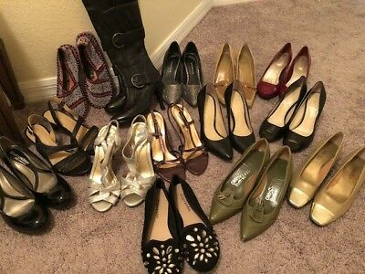 Ladies Shoe Lot Size 4.5. Various Brands and Colors. Includes a pair of Boots.