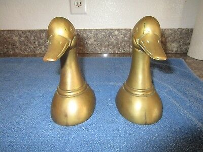 Pair of Antique Solid Brass Leonard Duck Head Bookend's