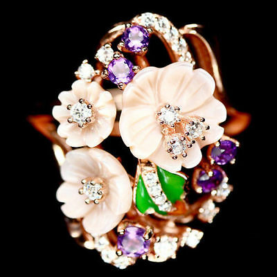 Carved Pink Mother Of Pearl Amethyst & White Cz 925 Sterling Silver Ring Sz 8.75