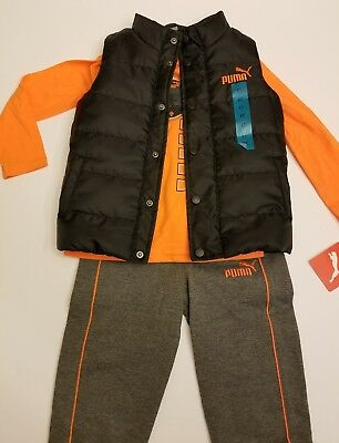 Boys PUMA 3 pc Set Orange Long Sleeve Shirt Puffer Vest & Grey Sweatpants Size 6