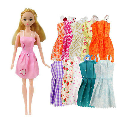 Mix 10 Pcs Beautiful Party Handmade Mini Fashion Dress Doll Clothes Shoes Gifts
