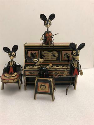 Antigue Tin Wind Up Toy Marx Merrymakers Mouse Band Working condition.