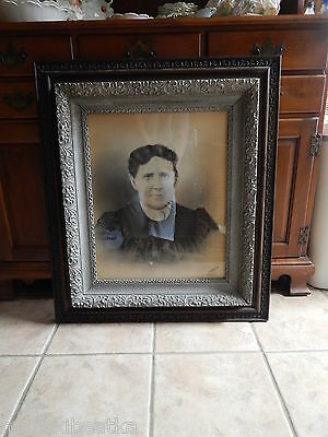 Antique  Victorian Eastlake Carved Oak Lg  Frame With Old Print
