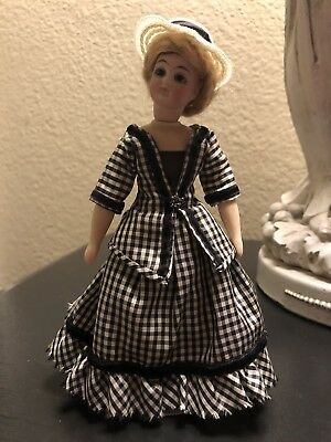 "Beautiful 6"" Antique Bisque Lady Doll With Reproduction Body"