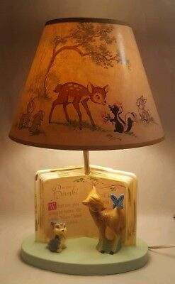Vintage Bambi Thumper Lamp Dolly Toy  WORKS Disney Nursery Baby