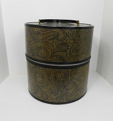 Vintage 60'/70's Black & Gold Paisley Wig Hat Box Case
