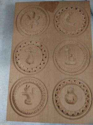 Vintage Wood Hand Carved Butter Cookie Pat Mold 6 Part Flower Fish Pear Squirrel