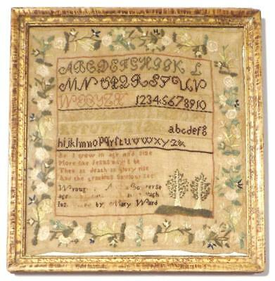 "Small Antique NEW ENGLAND SAMPLER ""Instructed by MARY WARD"", Found in VERMONT"