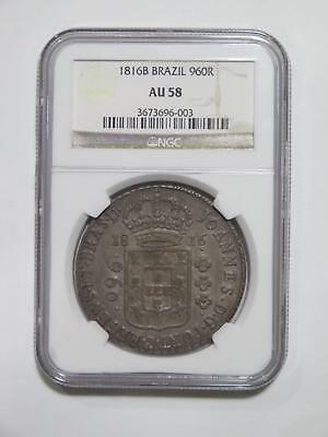 Brazil 1816 B 960 Reis Ngc Au58 Over 8 Reales Ex:kurt Prober Coin Collection Lot