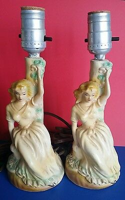 LEVITON Table Lamp Lot of 2 Vintage Antique Without Shade Woman Figurines Design