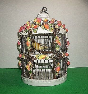 "Vintage Italian Majolica Pottery BIRD CAGE Porcelain CANARY Wood Perch 13"" ITALY"