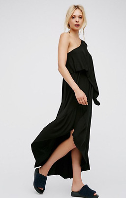 ea6cc95b43 NEW Free People FP Beach One/Off Shoulder Carynne Black Jersey Maxi Dress  Sz S