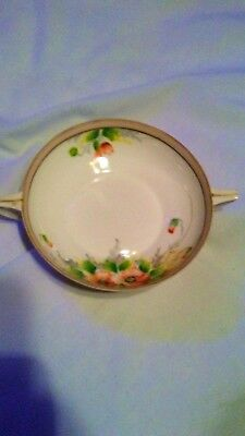 Vintage  NIPPON Hand Painted 2 Handled Dish Gold Trim Floral Design