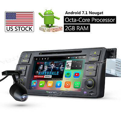 """For BMW E46 1999-2004 Android 7.1 7"""" Car DVD GPS Nav System Stereo In Dash C DVR"""