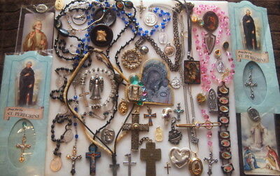 Big Lot Of Antique Vintage New Jewelry Religious Crosses Rosarys Medals