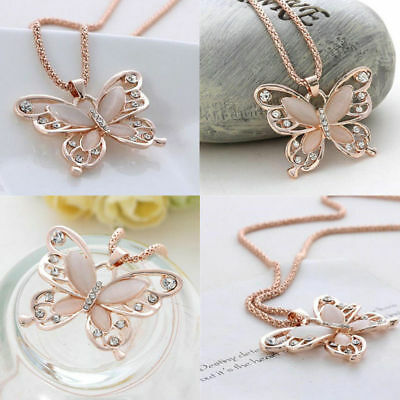 Fashion Women Jewelry Rose Gold Opal Butterfly Charm Pendant Long Chain Necklace