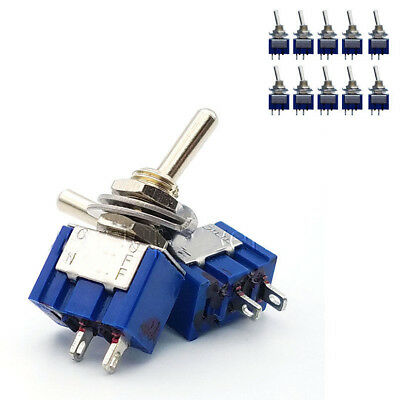 10Pcs 2 Pin 2 Position SPST ON-OFF 6A 250VAC 6mm Mini Toggle Switches MTS-101 US
