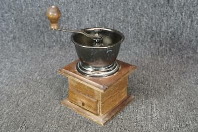 Vintage Wooden Base Metal Bowl Coffee Grinder 8 3/4""