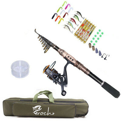 Telescopic Spinning Fishing Rod 1.8M/2.4M/3.3M and Reel Combo Set with Lures