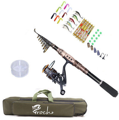 Telescopic Spinning Fishing Rod 2.7M/3M/3.3M and Reel Combo Set with Lures