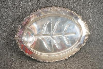 "Vintage 18"" Wide Oval Silver Plated Footed Serving Tray Sheridan"