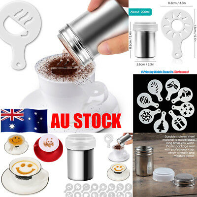 AU Stainless Steel Chocolate Cocoa Shaker Cappuccino Coffee Sifter Sprinkler Set