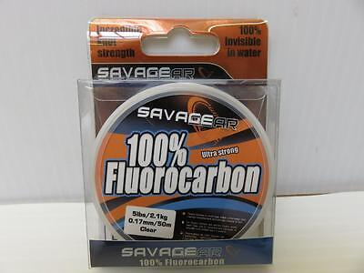 Savage Gear Ultra Strong 100% Fluorocarbon 50m 5lb dia 0.17 Fishing Line
