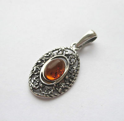 """Natural Baltic Amber Pendant Sterling Silver 925 - 1.25 """""""