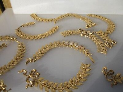 Ornate Furniture Ormolu Hardware Gold Brass Gilt Leaf Wreat Mounts BROKEN PARTS