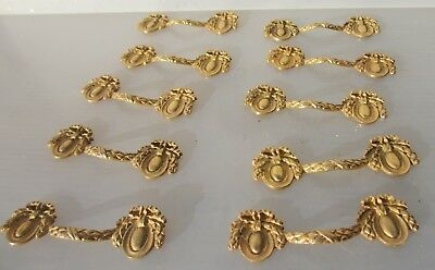 Ornate Gold Drawer Handles Pulls Antique Georgian STYLE Ribbon Wreath Drapes x10